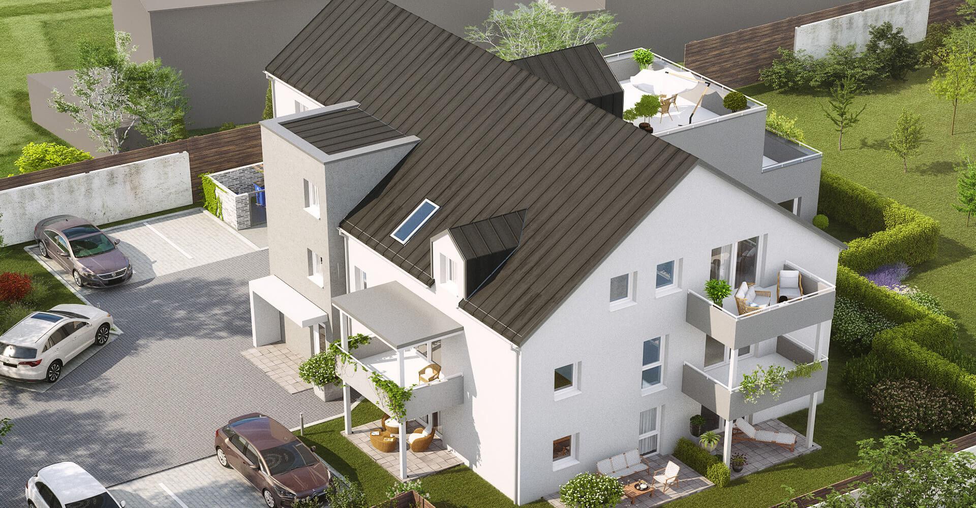 """Computerzeichnung vom Mehrfamilienhaus """"Agnes"""" in Straubing"""