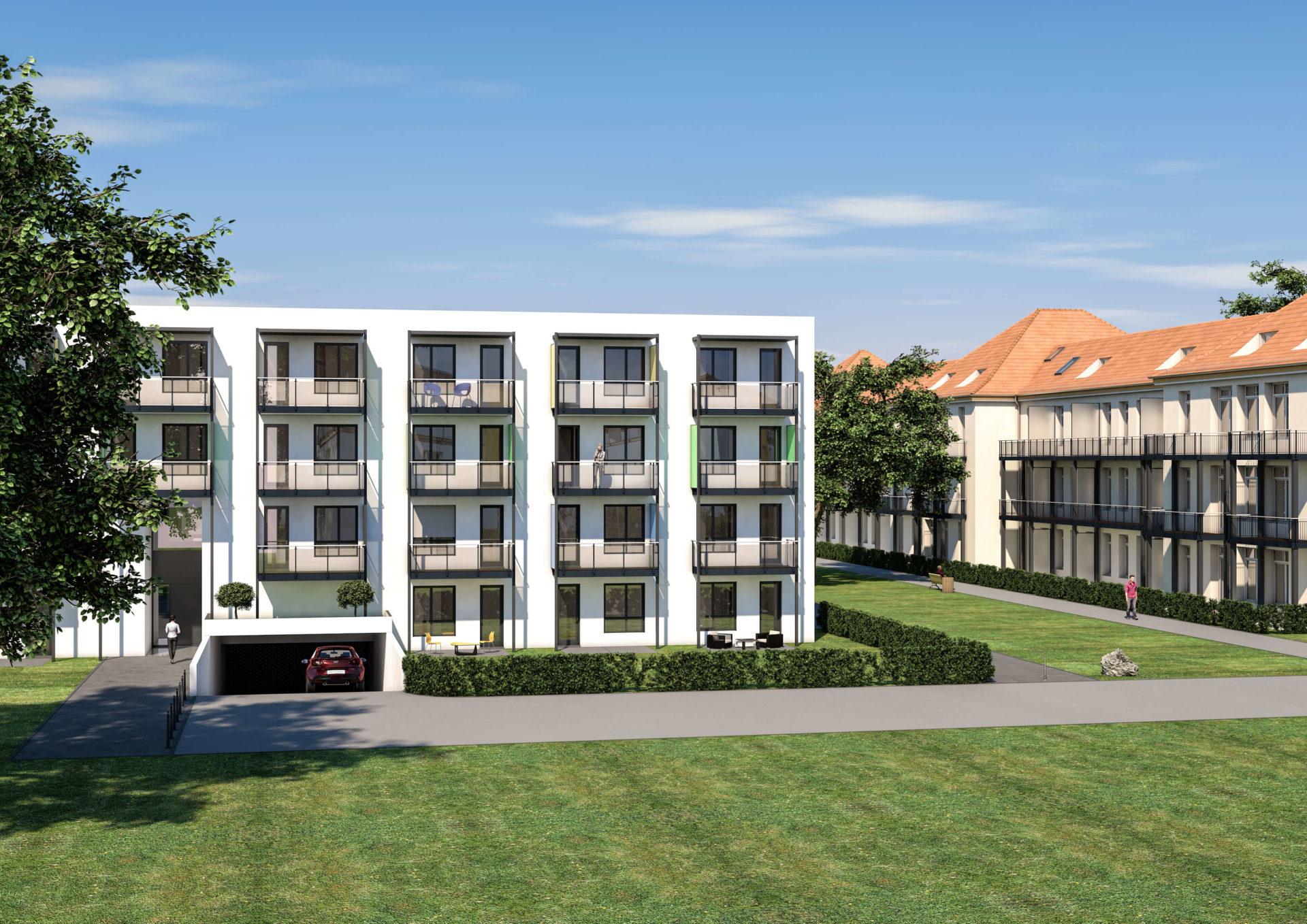 Front Darstellung vom Campus in Amberg